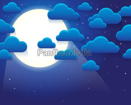 night sky with stylized clouds theme
