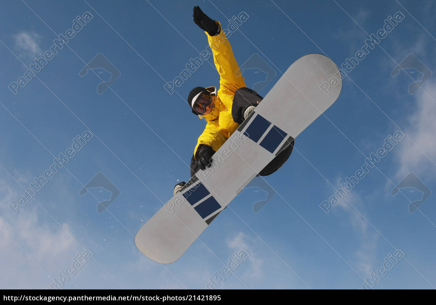 snowboarder, in, winter, clothes, jumping, against - 21421895