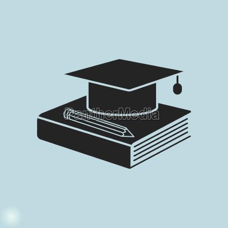 education icon graduation cap book and