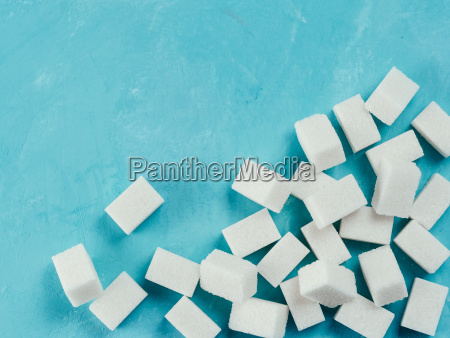 top view of white sugar cubes