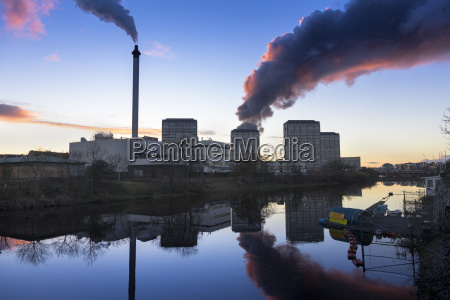 industrial chimney smoke and smoke from