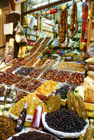 selling dried fruit and spices in