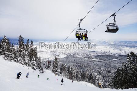 piste skiers bansko resort bulgaria europe