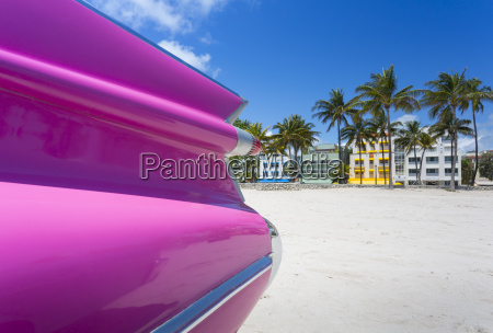 classic car on ocean drive and