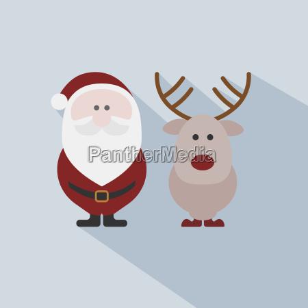 santa claus with reindeer on grey