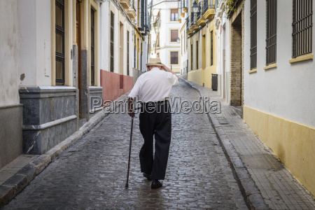 rear view of elderly man with