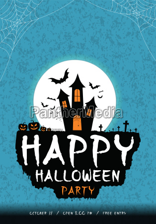 happy halloween party poster banner or