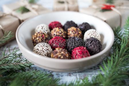 homemade chocolate truffles on a christmas