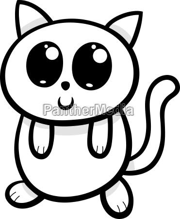 cartoon kawaii cat or kitten illustration