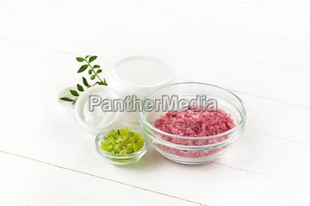 spa concept with salt mint lotion