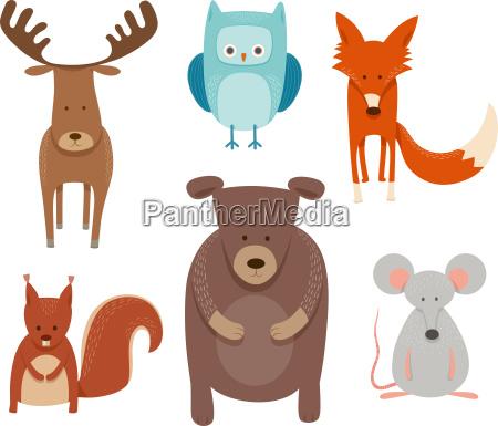 cute cartoon animal characters set