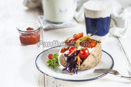 kumpir turkish baked potato with raw