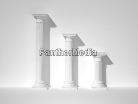 three white greek columns 3d rendering