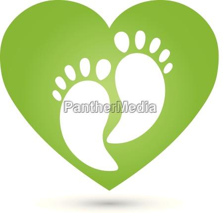 feet heart massage foot care logo