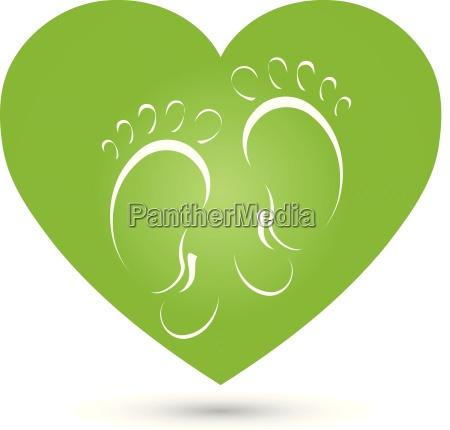 heart feet massage foot care logo