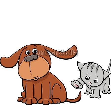 puppy and kitten characters cartoon illustration