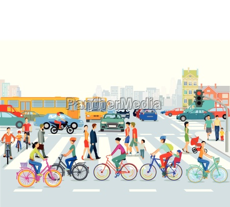 city with road trafficcyclists and pedestriansillustration
