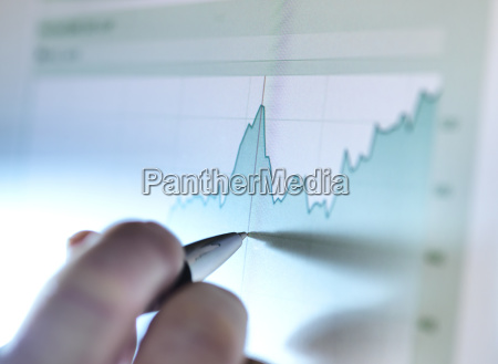 hand of a stock broker analysing