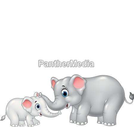 cartoon funny elephant mother and calf