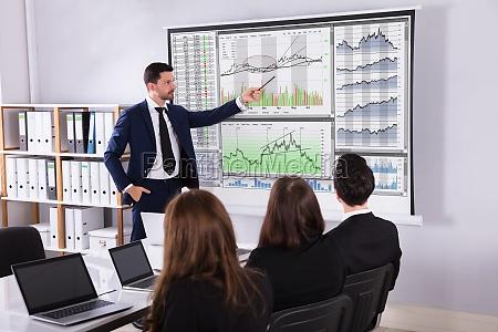 stock market broker giving presentation to