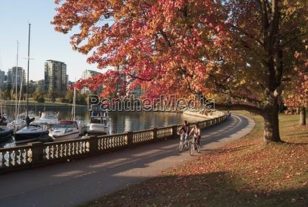 bikers in stanley park vancouver british