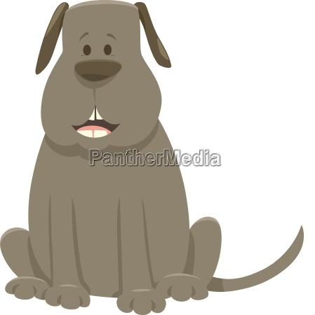 gray dog cartoon animal character