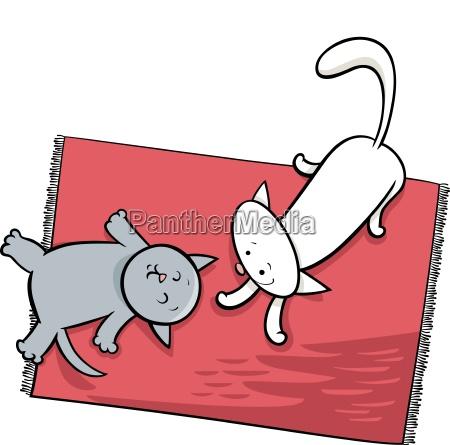 cute playing cats cartoon illustration