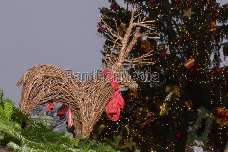 christmas, tree, and, wicker, reindeer, on - 25844554