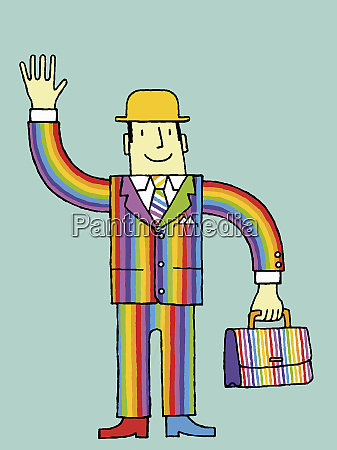 businessman in rainbow suit waving