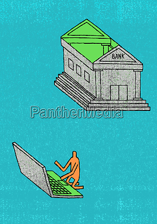 man using roof of bank as