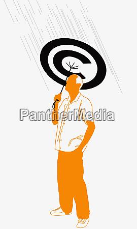 man holding copyright umbrella