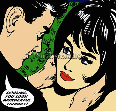 man complimenting girlfriend in speech bubble