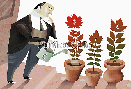 man tending potted plants