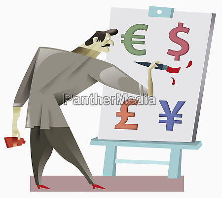 man painting currency symbols