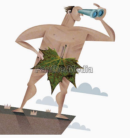 nude man with leaf using binoculars