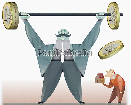 strong man raising barbell with euro