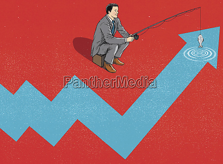 businessman fishing in ascending line graph