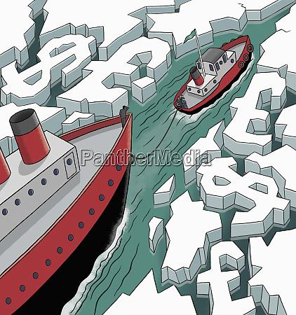 business people on icebreaker leading through
