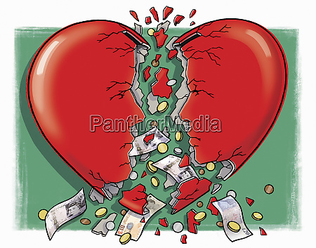 money falling out of broken heart