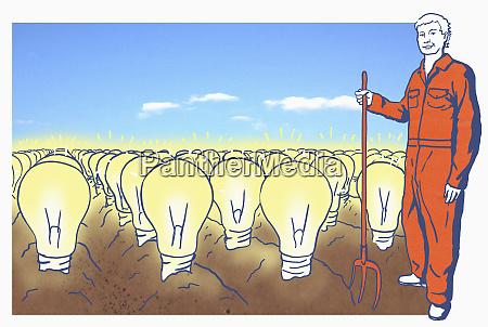 farmer on field with lightbulbs