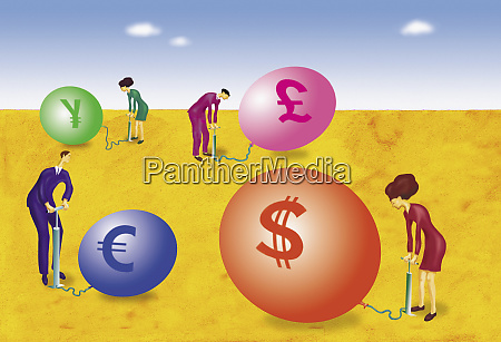 business people inflating international currency balloons