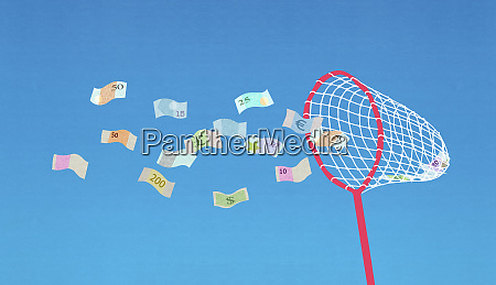 butterfly net collecting flying banknotes