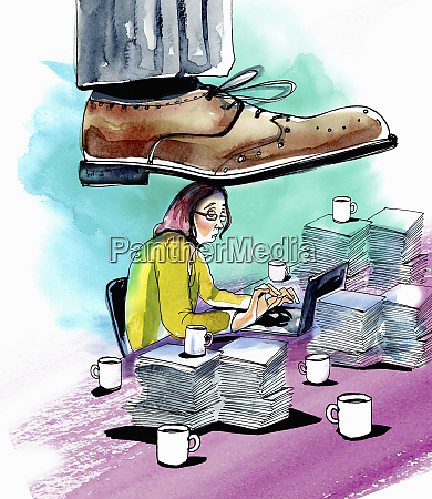 large foot stepping on woman working