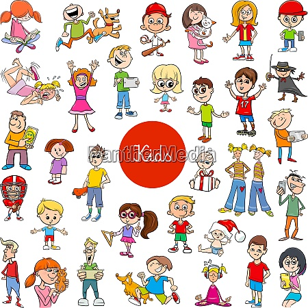 cartoon children characters large collection