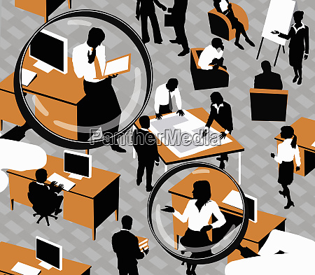 magnifying glass over business people in