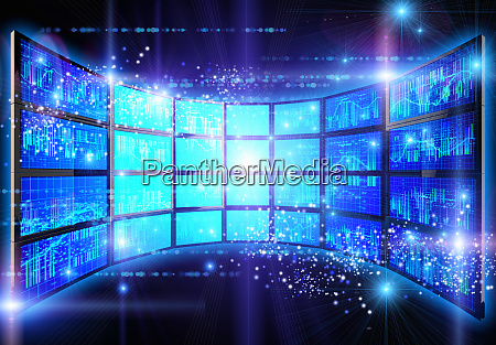 data graphs on glowing panel of