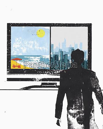 businessman looking at split screen on