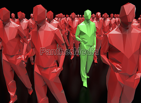 green plastic man standing out from