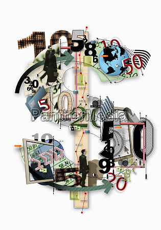 collage of numbers and finance images