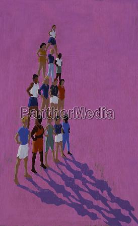 people standing on shoulders creating human